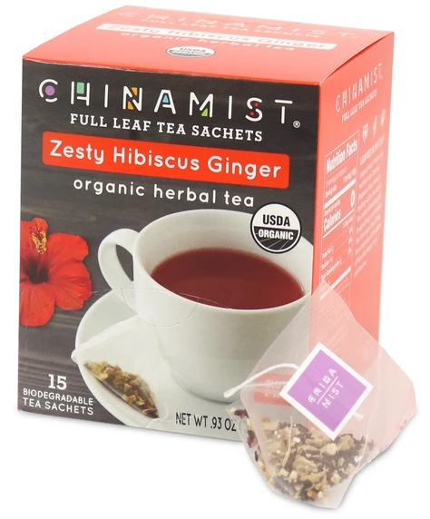 Zesty Hibiscus Ginger Organic Herbal Full Leaf Tea Sachet (15-ct